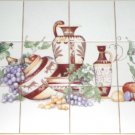 "CLOSEOUT Urns and Grapes Ceramic Tile Mural Back splash 12pcs of 4.25"" Kiln Fired Tiles"