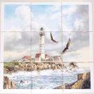 Light House Ceramic Tile Mural Eagles 9pc 4.25 Ocean Backsplash Kiln Fired