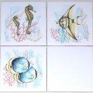 "Fish Ceramic Tile Mural Accents Star Fish Sea Horses Backsplash 3 of 4.25"" AO"