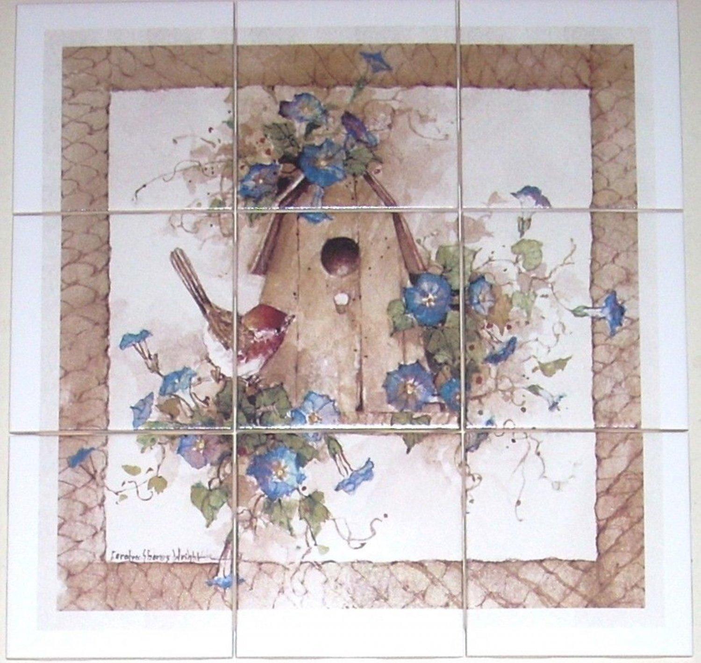 """American Bird Wren Ceramic Tile Mural Birdhouse 9/4.25"""" Back splash Decor"""