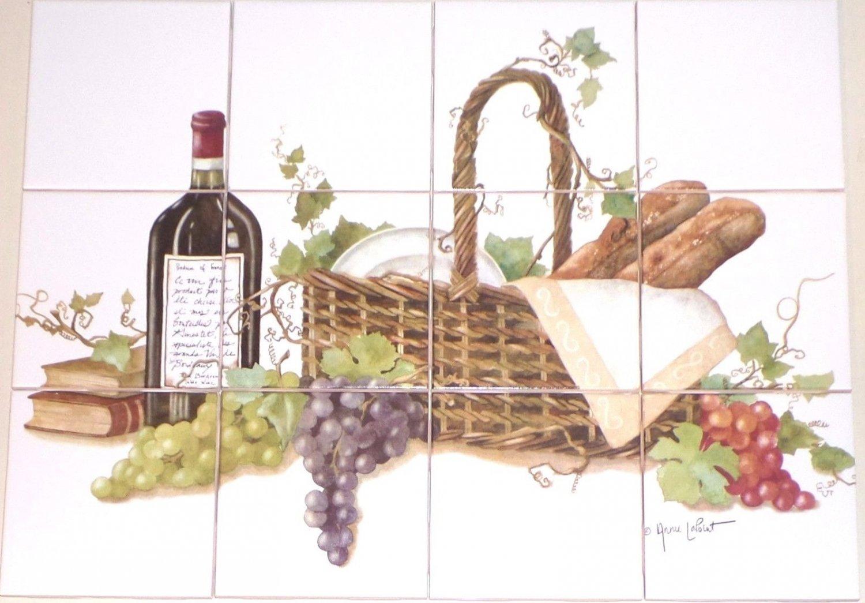 "Wine Ceramic Tile Mural Backsplash Kiln Fired Decor 12pcs 4.25"" Grapes Bread"