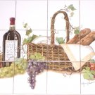 "Wine Ceramic Tile Mural Backsplash Kiln Fired Decor 12pcs 4.25"" Grapes Bread"