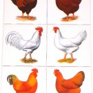 "ooster and Hen Set of 6 Ceramic Tile 4.25"" Kiln Fired Back Splash Chicken"