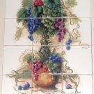 "Grape Topiary Ceramic Tile Mural Biscuit Matte Kiln Fired Backsplash 12pc 4.25"""