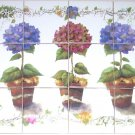 "Closeout Potted Plants and Ivy Back Splash 12pc 4.25"" Kiln Fired Decor Ceramic Tile Mural"
