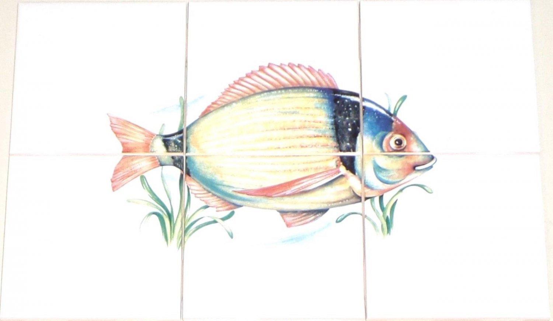 Lake Fish Ceramic Tile Mural #5 Kiln Fired Decor