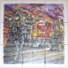 "Closeout TRAIN 036 LOCOMOTIVE CERAMIC TILE MURAL 9 pcs of 4.25"" KILN FIRED COLORFUL DECOR"