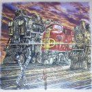 "TRAIN 036 LOCOMOTIVE CERAMIC TILE MURAL 4 of 6"" X 6"" KILN FIRED COLORFUL DECOR"