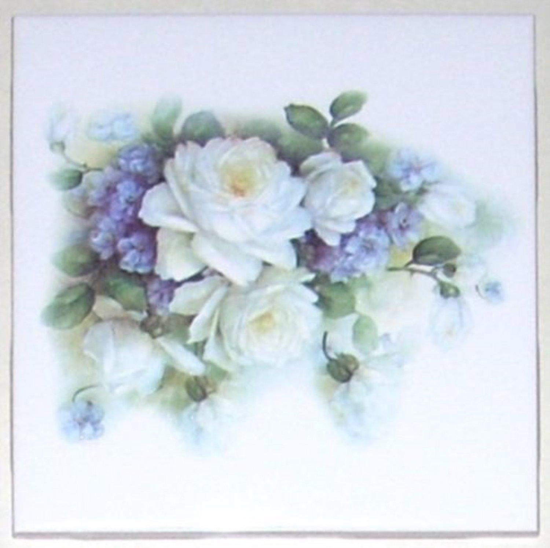 """White Sussex Rose Ceramic Tile 4.25"""" Flower Kiln Fired Back Splash Accent"""