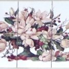 "CLOSEOUT Magnolia Flower Ceramic Tile Mural 6 pcs 4.25"" Back Splash Kiln Fired Decor"
