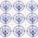 "Blue Onion Ceramic Tile set of 9 of 4.25"" x 4.25"" Kiln Fired Back Splash Decor"