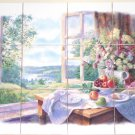 "Flower Garden Window Ceramic Tile Mural 12pc 4.25"" Kiln Fired Fox Gloves Fruit"