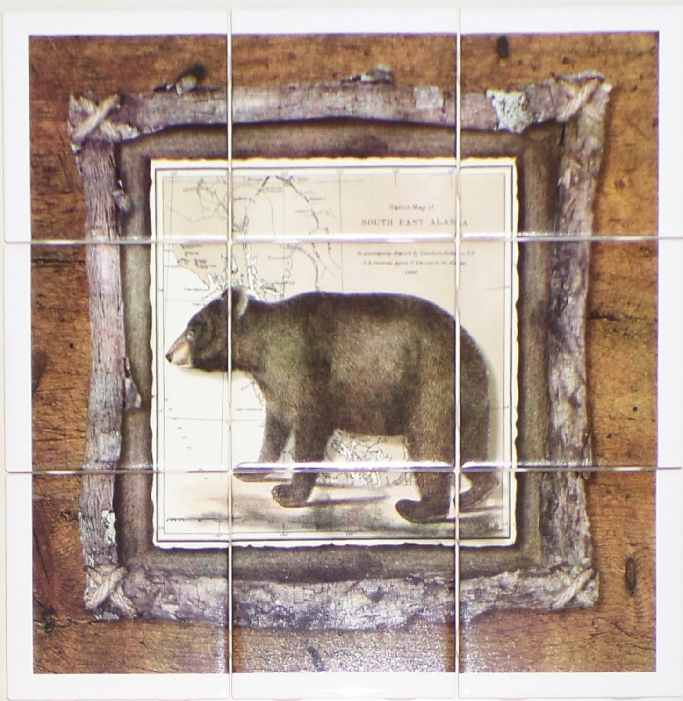 "Alaskan Bear Ceramic Tile Mural 9pc 4.25"" x 4.25"" Kiln Fired Back Splash Decor"