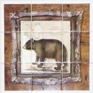 "Alaskan Bear Ceramic Tile Mural 9pc 4.25"" x 4.25"" Kiln Fired Back Splash Decor"