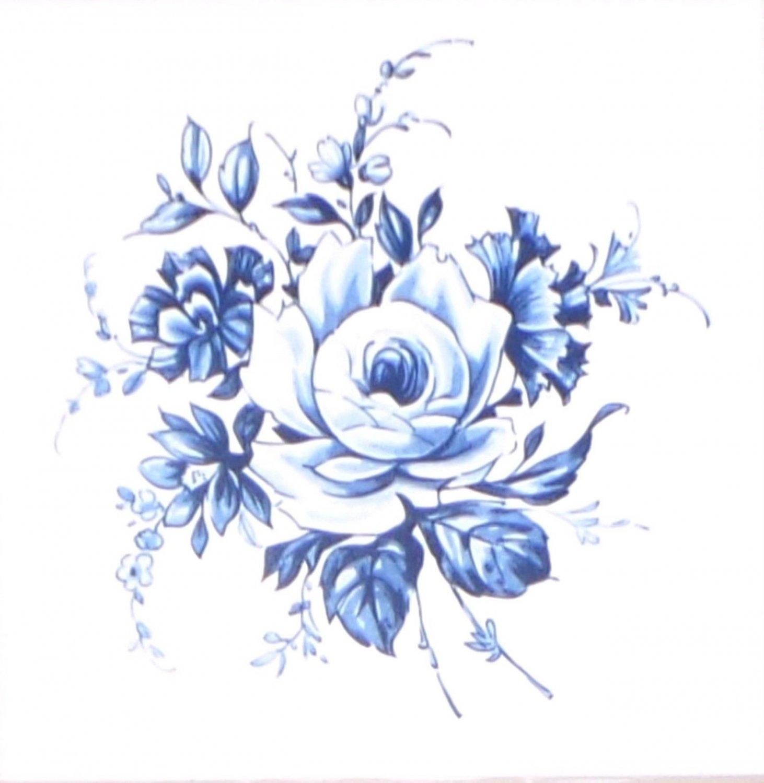 "Blue Delft Vintage Rose Ceramic Tile 4.25"" Kiln Fired Flower Decor"