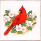 "Cardinal Song Bird with white flowers Ceramic Tile 4.25"" Kiln Fired Accent"