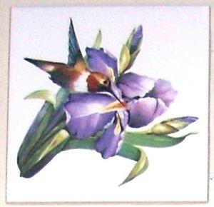 "Hummingbird Lavender Iris Flower Bird Ceramic Tile Accent 4.25"" Kiln fired Decor"