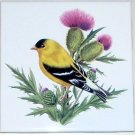 "American Goldfinch Ceramic Tile 4.25"" Yellow Song Bird Kiln Fired Decor"