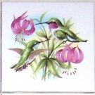 "Green Hummingbird Pink Flowers Bird Ceramic Tile 4.25"" Kiln Fired Humming Bird"
