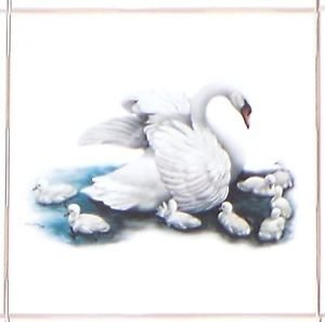 "CLOSEOUT Pretty Swan Tile Kiln Fired Ceramic Accent Tiles 4.25"" x 4.25"" Bird"