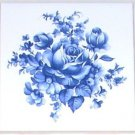 "Blue Delft Rose Flower Ceramic Tile Accent 4.25"" Kiln fired Decor"