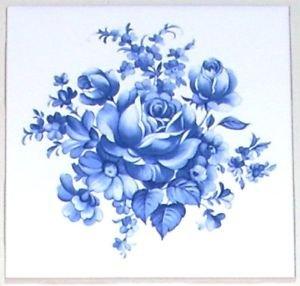 """Blue Delft Rose Flower Ceramic Tile Accent 4.25"""" Kiln fired Decor"""