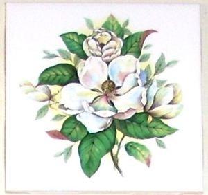CLOSEOUT Magnolia Flower Ceramic Tile Accents 4.25 Kiln Fired Back Splash Tiles