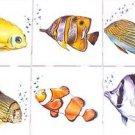 "Fish Ceramic Tile set of 6 of 4.25"" x 4.25"" Kiln fired Back Splash Tile Decor"