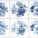CLOSEOUT Delft Dark Blue Ceramic Tile Mural Backsplash 6 pcs Grapes Fruit Kiln fired