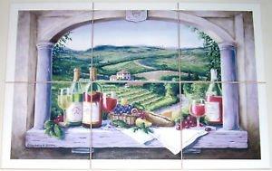 "Wine Ceramic Tile Mural Grapes Vineyard Window Back splash 6 of 6"" Kiln Fired"