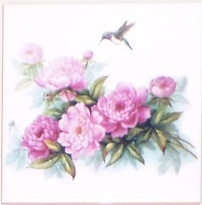 "Hummingbird Peony Flowers Ceramic Tile 6"" X 6"" Kiln Fired Back Splash Decor"