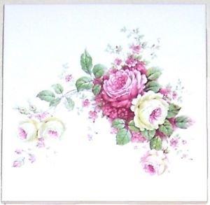"CLOSEOUT Pink Delicate Roses Rose Ceramic Tile 4.25"" Flower Kiln Fired Back Splash Accent"