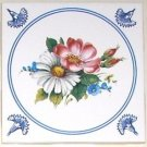 "Blue Delft with Rose and Daisy Ceramic Tile 4.25"" Kiln Fired Back Splash Decor"