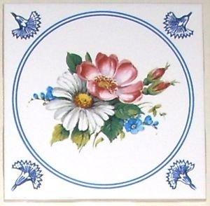 "Blue Delft with Rose and Daisy Ceramic Tile 4.25"" Kiln Fired Back Splash Decor"