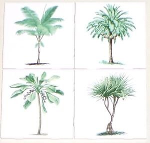 "Green Palm Trees Ceramic Tile set of 4 of 4.25"" x 4.25"" Kiln Fired Decor"