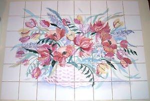 """Poppy Flower Basket Ceramic Tile Mural Kiln Fired 48 pc / 4.25"""" Backsplash"""