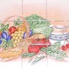 """Vegetable and Fruit 15 pc Ceramic Tile Mural 4.25"""" Kiln Fired Decor Back Splash"""