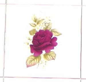 "CLOSEOUT Single Burgundy or Wine Color ROSE Flower 4.25"" Kiln Fired Ceramic Tile Decor"
