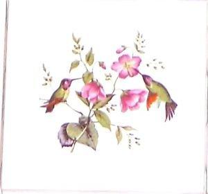"""Hummingbird Flower Ceramic Accent Tile 4.25"""" Kiln Fired Bird Decor Back Splash"""