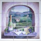 "Wine Grapes Ceramic Tile Mural 9 Pcs  4 .25"" White Matte Ceramic Wall Tile"