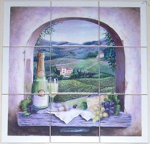 "Wine Grapes Ceramic Tile Mural 9 Pcs  4 .25"" White Matte Ceramic Wall Tile"