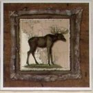 "Alaskan Moose Ceramic Tile 4.25"" x 4.25""  Kiln Fired Wild Life Decor"