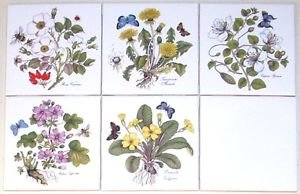 """CLOSEOUT Herb Ceramic Tile Herbs Butterflies Caparis Spinosa 4.25"""" Kiln Fired set of 5"""