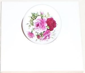 "Rose Roses Flower Porcelain Ceramic Knob Drawer Pulls 2"" Kiln Fired with Screws"