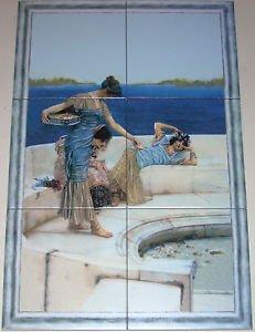 """Women by the Sea Ceramic Tile Mural 6 of 8""""x8"""" Porcelain Floor Tiles Kiln Fired"""