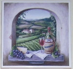 "Vineyard Window Red Chiani Wine Ceramic Tile Acct 4.25"" Kiln fired Decor Grapes"