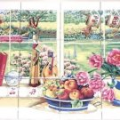 "Window and Books Ceramic Tile Mural 12pc 4.25"" x 4.25"" Kiln Fired Back Splash"