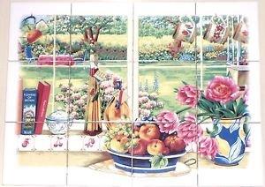 "Window and Books Ceramic Tile Mural 12pc 4.25"" x 4.25"" Kiln Fired Back Splash"