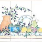 "CLOSEOUT Tuscan Ceramic Tile Mural 6 of 6""  Kiln Fired Olive and Lemon Back Splash Decor"