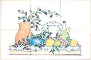 "CLOSEOUT Tuscan Ceramic Tile Mural 6 of 6""  Kiln Fired Olive and Lemon Back Splash Decor"